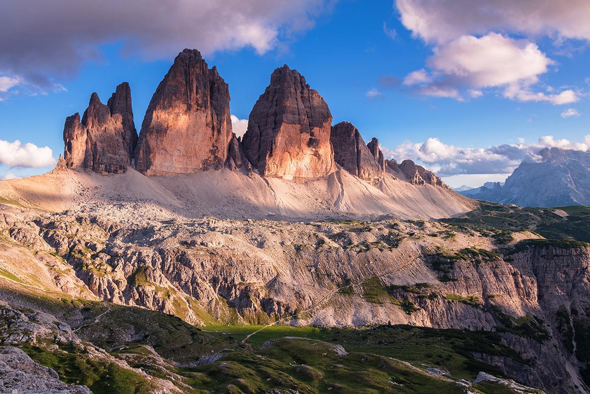 Tre Cime di Lavaredo peaks at sunset