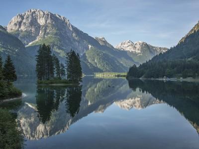 Morning reflections at lago di Predil