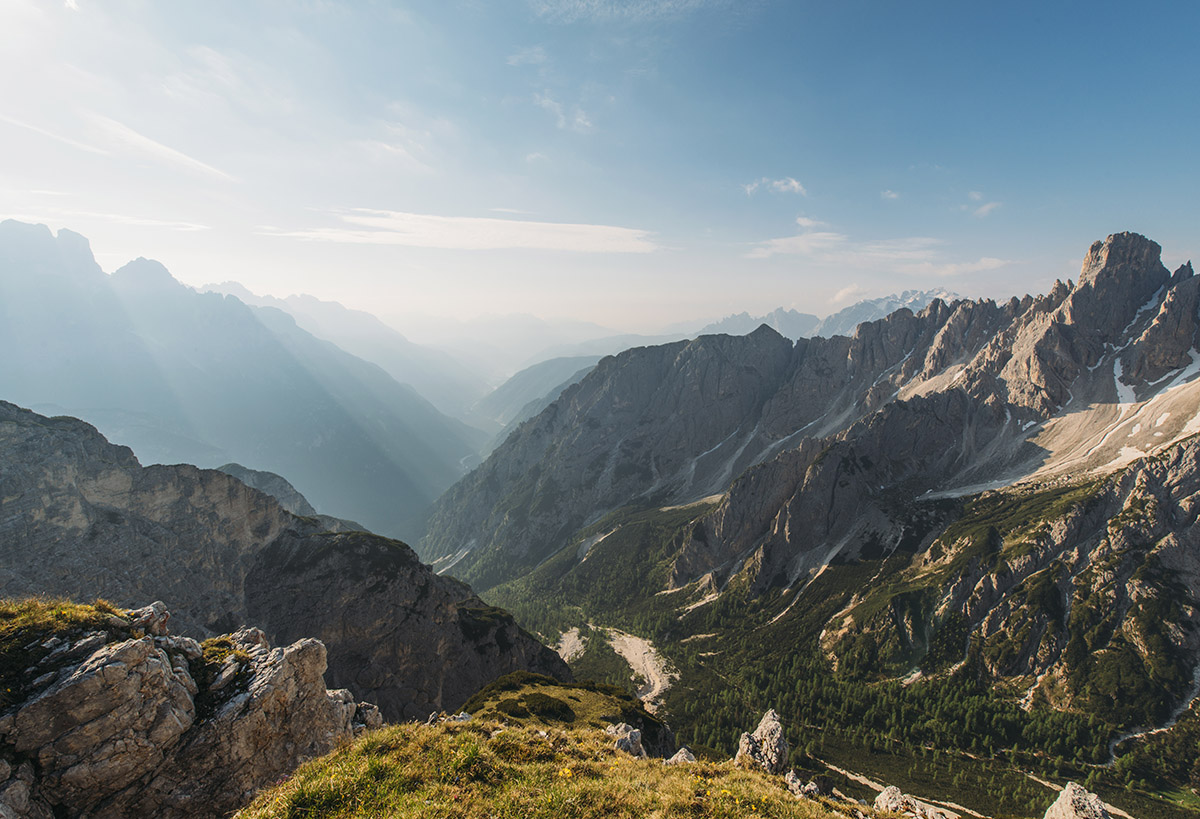 Breathtaking mountain panorama at Dolomites in the early morning.