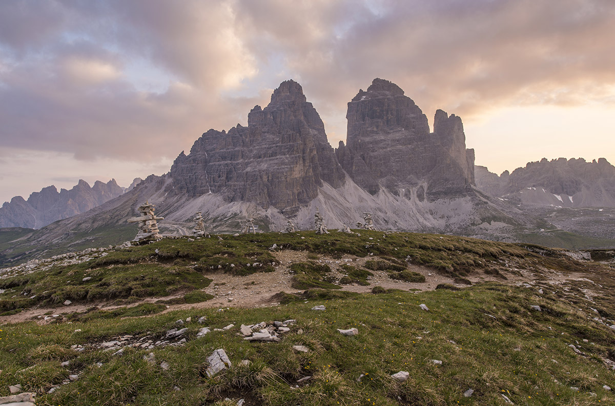 Tre cime di Lavaredo at Sunrise.