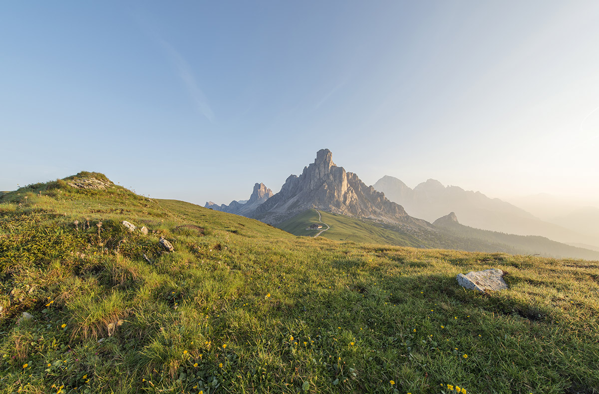 View of passo di Giau from a nearby meadow.