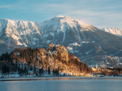 Winter sunrise at Bled