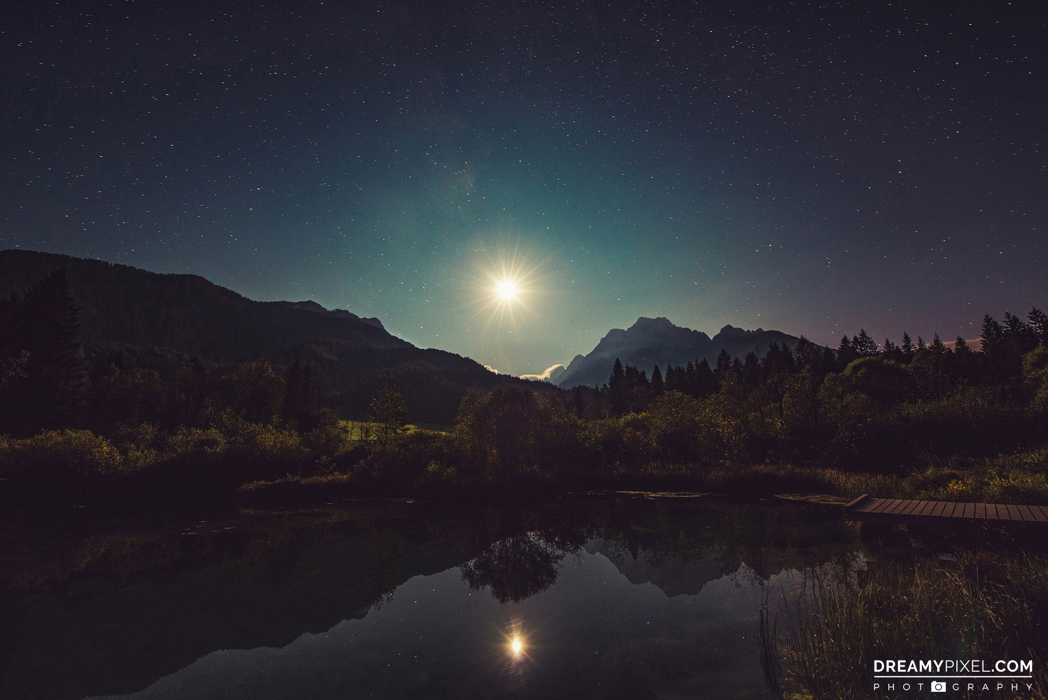 Zelenci springs at night
