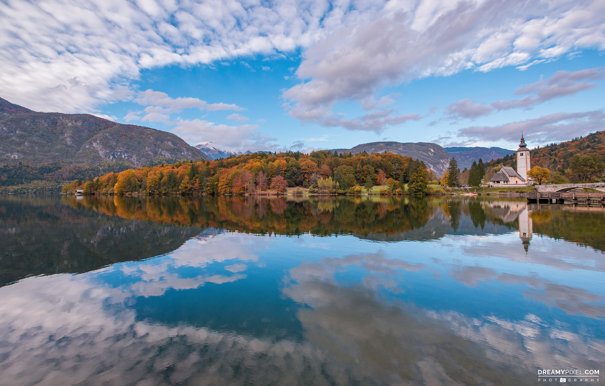 Beautiful autumn scene at lake Bohinj