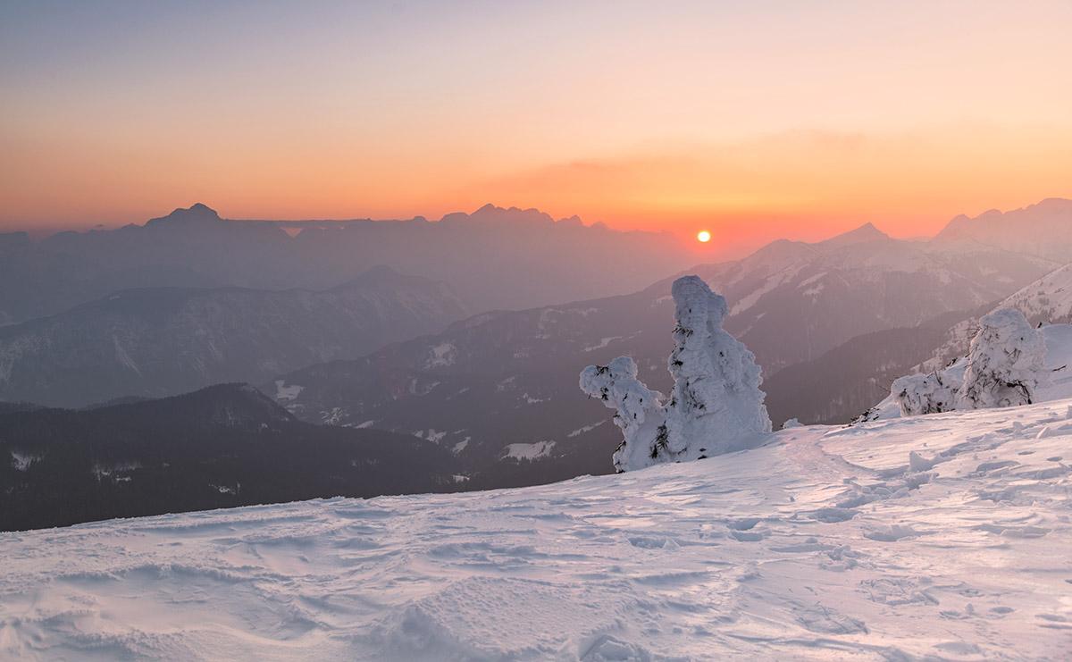 Sunset in the winter fairytale landscape.