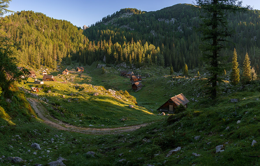 Wooden Cottages at sunrise in the Triglav National Park
