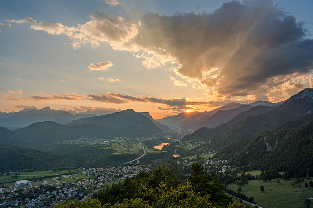 My Hometown Jesenice on a very vivid and dramatic sunset.