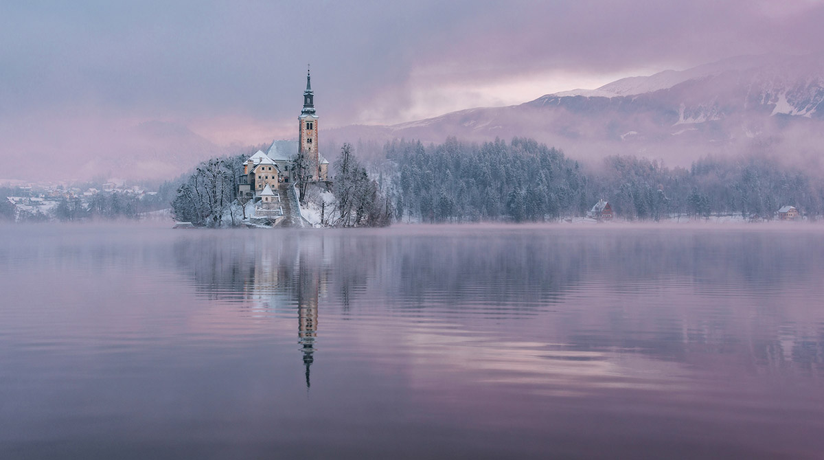 Perfect winter scene at lake Bled