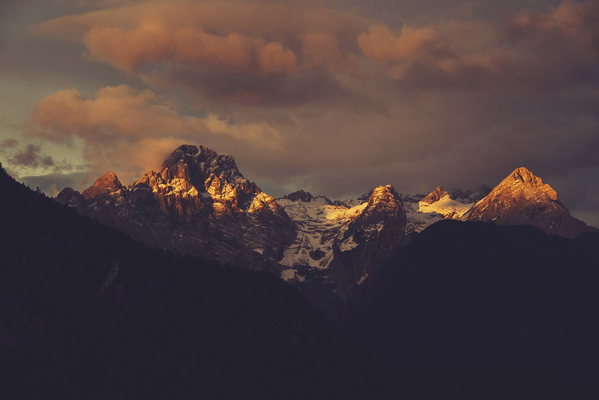 Dark sunrise in the Mountains