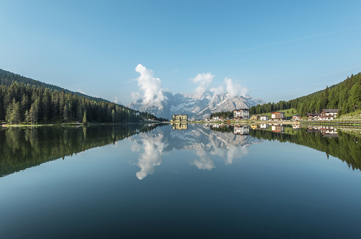 One of the most spectacular sights in the Dolomites. Perfect mirror at lago di Misurina.