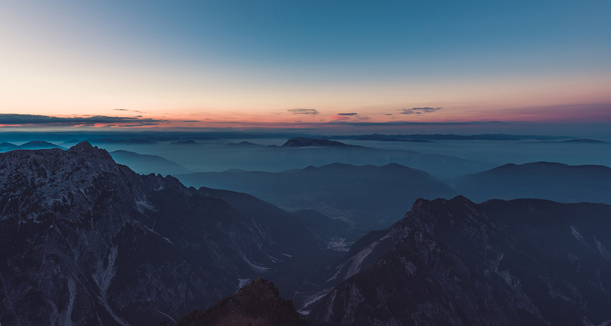Beautiful scene in the Alps at sunset
