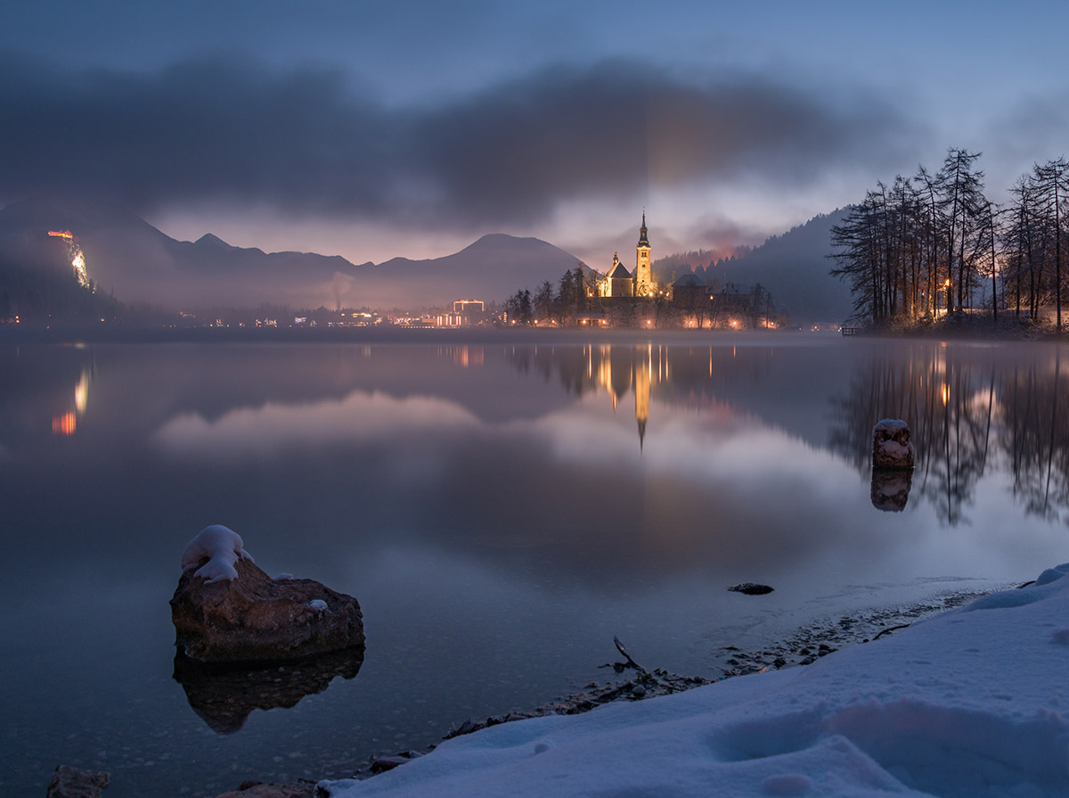 Lake bled before the winter morning