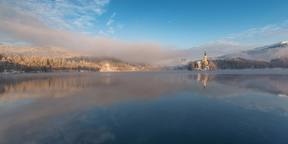 Winter panorama at lake Bled