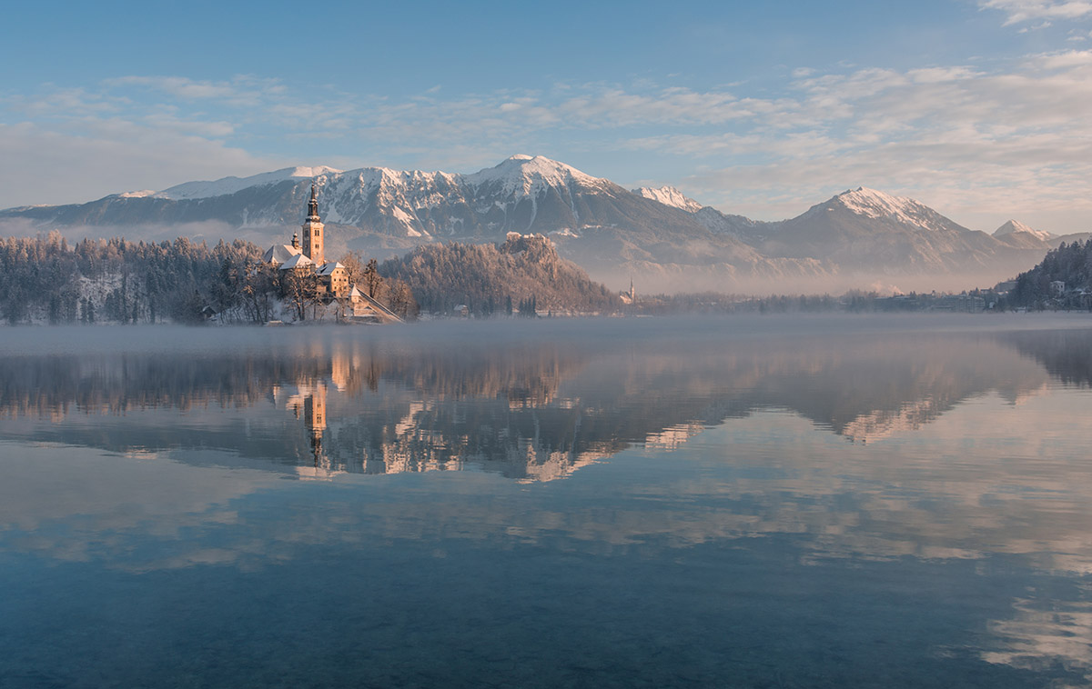 Crystal clear morning at lake Bled