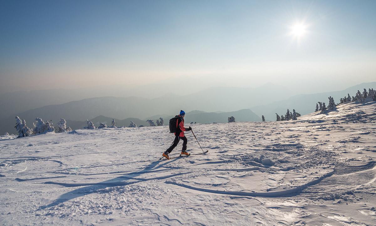 Male hiker in the winter landscape.
