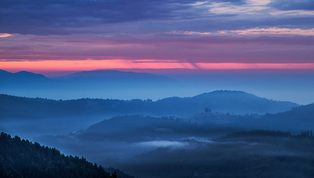 Twilight sunrise in slovenian countryside