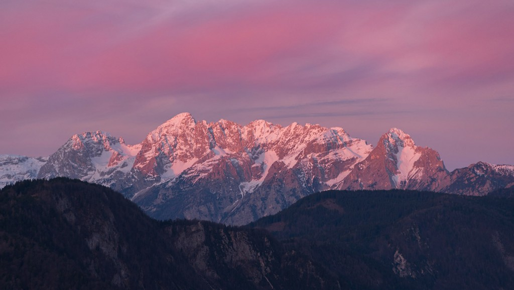 Sunrise in the mountains in Julian Alps